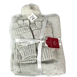 Charter Club 3pc Ivory Gift Set Scarf Hat & Gloves